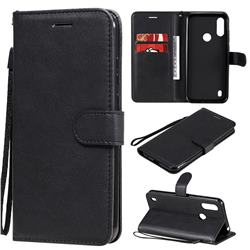 Retro Greek Classic Smooth PU Leather Wallet Phone Case for Motorola Moto E6s (2020) - Black