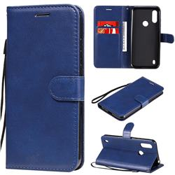 Retro Greek Classic Smooth PU Leather Wallet Phone Case for Motorola Moto E6s (2020) - Blue