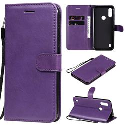 Retro Greek Classic Smooth PU Leather Wallet Phone Case for Motorola Moto E6s (2020) - Purple