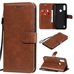 Retro Greek Classic Smooth PU Leather Wallet Phone Case for Motorola Moto E6s (2020) - Brown