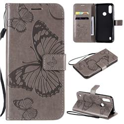 Embossing 3D Butterfly Leather Wallet Case for Motorola Moto E6s (2020) - Gray