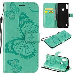 Embossing 3D Butterfly Leather Wallet Case for Motorola Moto E6s (2020) - Green