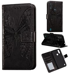 Intricate Embossing Vivid Butterfly Leather Wallet Case for Motorola Moto E6s (2020) - Black
