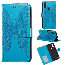 Intricate Embossing Vivid Butterfly Leather Wallet Case for Motorola Moto E6s (2020) - Blue