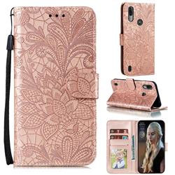 Intricate Embossing Lace Jasmine Flower Leather Wallet Case for Motorola Moto E6s (2020) - Rose Gold