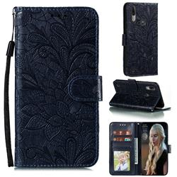 Intricate Embossing Lace Jasmine Flower Leather Wallet Case for Motorola Moto E6s (2020) - Dark Blue