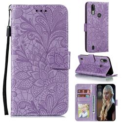 Intricate Embossing Lace Jasmine Flower Leather Wallet Case for Motorola Moto E6s (2020) - Purple