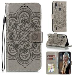 Intricate Embossing Datura Solar Leather Wallet Case for Motorola Moto E6s (2020) - Gray