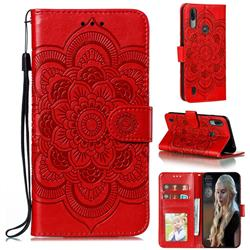 Intricate Embossing Datura Solar Leather Wallet Case for Motorola Moto E6s (2020) - Red