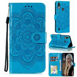 Intricate Embossing Datura Solar Leather Wallet Case for Motorola Moto E6s (2020) - Blue