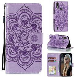 Intricate Embossing Datura Solar Leather Wallet Case for Motorola Moto E6s (2020) - Purple