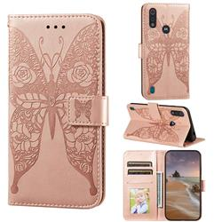 Intricate Embossing Rose Flower Butterfly Leather Wallet Case for Motorola Moto E6s (2020) - Rose Gold