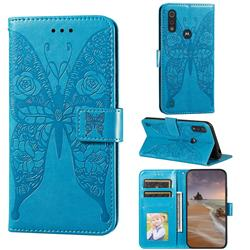 Intricate Embossing Rose Flower Butterfly Leather Wallet Case for Motorola Moto E6s (2020) - Blue