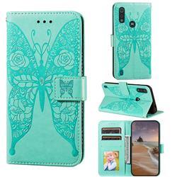 Intricate Embossing Rose Flower Butterfly Leather Wallet Case for Motorola Moto E6s (2020) - Green