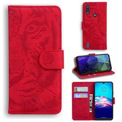 Intricate Embossing Tiger Face Leather Wallet Case for Motorola Moto E6s (2020) - Red