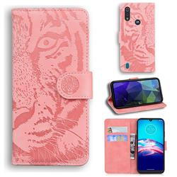Intricate Embossing Tiger Face Leather Wallet Case for Motorola Moto E6s (2020) - Pink