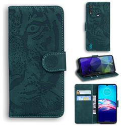 Intricate Embossing Tiger Face Leather Wallet Case for Motorola Moto E6s (2020) - Green