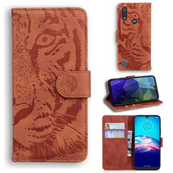 Intricate Embossing Tiger Face Leather Wallet Case for Motorola Moto E6s (2020) - Brown