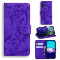 Intricate Embossing Tiger Face Leather Wallet Case for Motorola Moto E6s (2020) - Purple