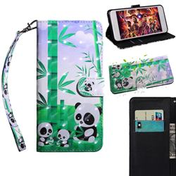 Eating Bamboo Pandas 3D Painted Leather Wallet Case for Motorola Moto E6s (2020)