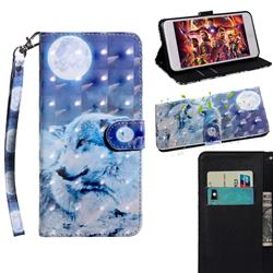 Moon Wolf 3D Painted Leather Wallet Case for Motorola Moto E6s (2020)