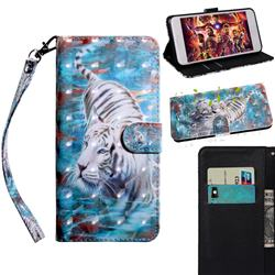 White Tiger 3D Painted Leather Wallet Case for Motorola Moto E6s (2020)