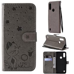 Embossing Bee and Cat Leather Wallet Case for Motorola Moto E6s (2020) - Gray