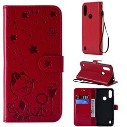Embossing Bee and Cat Leather Wallet Case for Motorola Moto E6s (2020) - Red