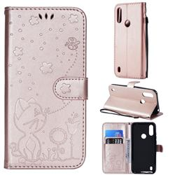 Embossing Bee and Cat Leather Wallet Case for Motorola Moto E6s (2020) - Rose Gold
