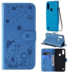 Embossing Bee and Cat Leather Wallet Case for Motorola Moto E6s (2020) - Blue