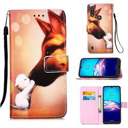 Hound Kiss Matte Leather Wallet Phone Case for Motorola Moto E6s (2020)