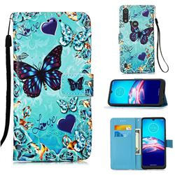 Love Butterfly Matte Leather Wallet Phone Case for Motorola Moto E6s (2020)