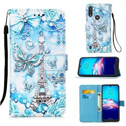 Tower Butterfly Matte Leather Wallet Phone Case for Motorola Moto E6s (2020)
