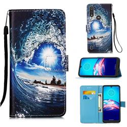 Waves and Sun Matte Leather Wallet Phone Case for Motorola Moto E6s (2020)