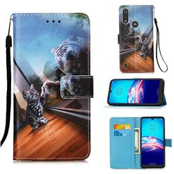 Mirror Cat Matte Leather Wallet Phone Case for Motorola Moto E6s (2020)