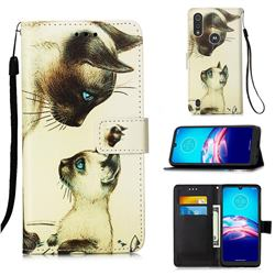 Cat Confrontation Matte Leather Wallet Phone Case for Motorola Moto E6s (2020)