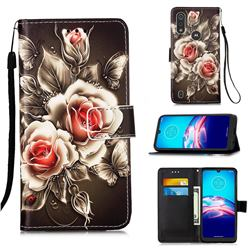 Black Rose Matte Leather Wallet Phone Case for Motorola Moto E6s (2020)