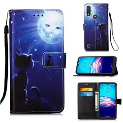 Cat and Moon Matte Leather Wallet Phone Case for Motorola Moto E6s (2020)