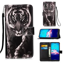 Black and White Tiger Matte Leather Wallet Phone Case for Motorola Moto E6s (2020)