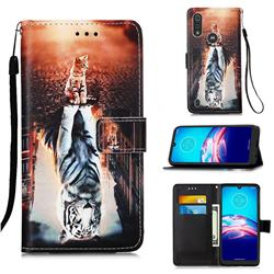 Cat and Tiger Matte Leather Wallet Phone Case for Motorola Moto E6s (2020)