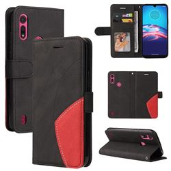 Luxury Two-color Stitching Leather Wallet Case Cover for Motorola Moto E6s (2020) - Black