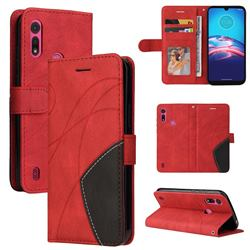 Luxury Two-color Stitching Leather Wallet Case Cover for Motorola Moto E6s (2020) - Red