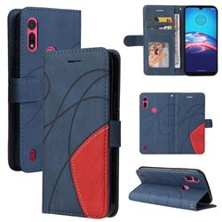 Luxury Two-color Stitching Leather Wallet Case Cover for Motorola Moto E6s (2020) - Blue