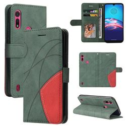 Luxury Two-color Stitching Leather Wallet Case Cover for Motorola Moto E6s (2020) - Green
