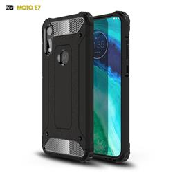 King Kong Armor Premium Shockproof Dual Layer Rugged Hard Cover for Motorola Moto E7 - Black Gold
