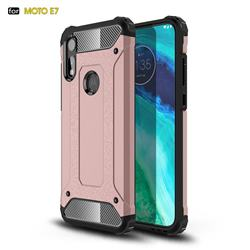 King Kong Armor Premium Shockproof Dual Layer Rugged Hard Cover for Motorola Moto E7 - Rose Gold