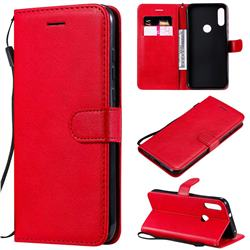 Retro Greek Classic Smooth PU Leather Wallet Phone Case for Motorola Moto E7 - Red