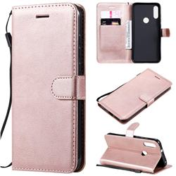 Retro Greek Classic Smooth PU Leather Wallet Phone Case for Motorola Moto E7 - Rose Gold