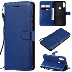 Retro Greek Classic Smooth PU Leather Wallet Phone Case for Motorola Moto E7 - Blue