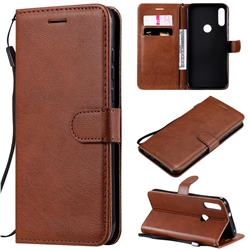 Retro Greek Classic Smooth PU Leather Wallet Phone Case for Motorola Moto E7 - Brown